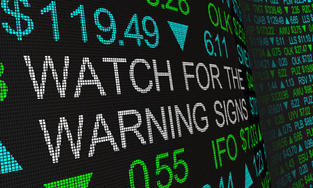 Watch for the Warning Signs Stock Market Prices Trends 3d Illustration Watch for the Warning Signs Stock Market Prices Trends 3d Illustration recession stock pictures, royalty-free photos & images