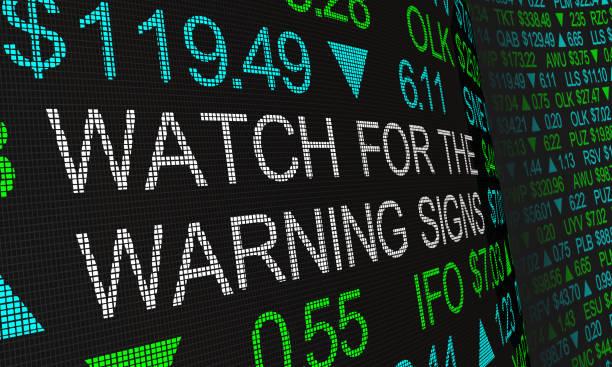 경고 표지판 주식 시장 가격 동향 3d 그림에 대한 조심 - 불황 뉴스 사진 이미지