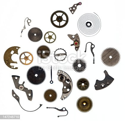 Watch gears, springs and other mechanical parts.
