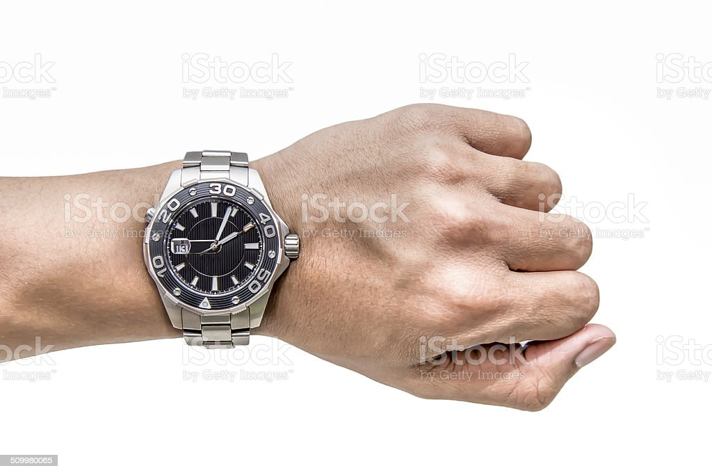 Watch on wrist isolated over a white background stock photo