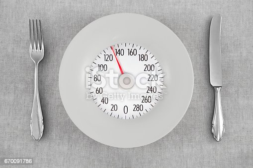 Looking down on a plate with a symbolic weight scale
