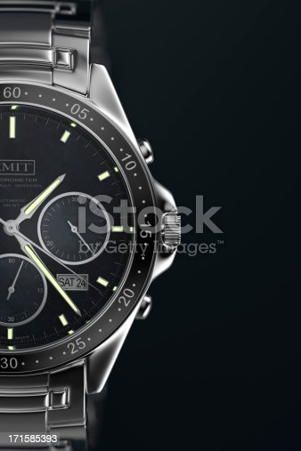 A men's wristwatch on a dark background.  Designed and modelled in 3D by myself. All markings are fictitious.  Very high resolution 3D render.