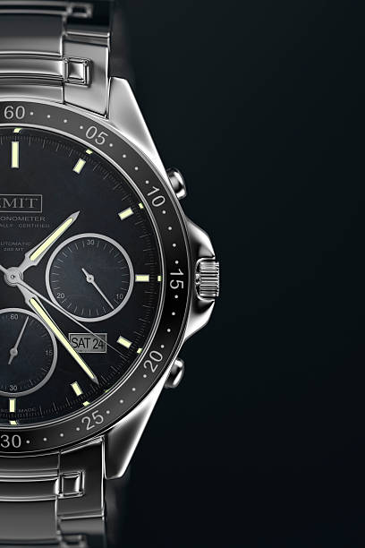 Watch A men's wristwatch on a dark background.  Designed and modelled in 3D by myself. All markings are fictitious.  Very high resolution 3D render. luxury watch stock pictures, royalty-free photos & images