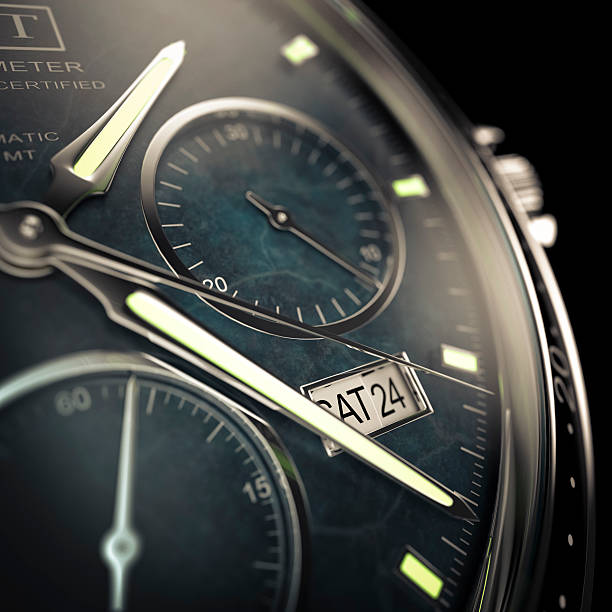Watch Close view of a men's wristwatch with luminescent hands on a dark background.  Designed and modelled in 3D by myself. All markings and designs are fictitious.  Very high resolution 3D render. luxury watch stock pictures, royalty-free photos & images