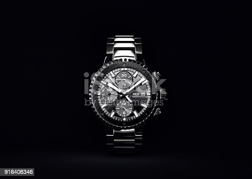 wrist watch. time accessory isolated on black. 3d illustration