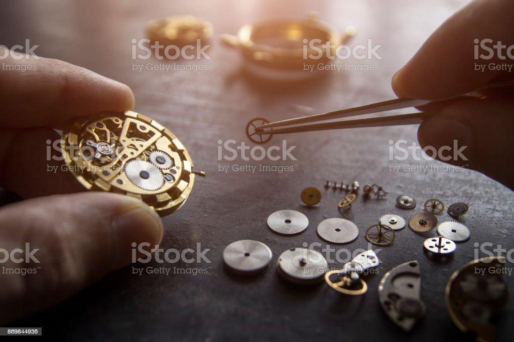 Watch repair stock photo