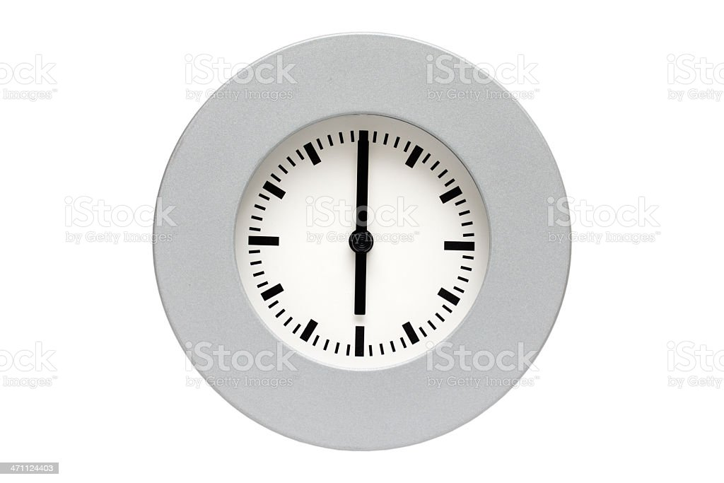Watch showing 6 o clock AM/PM, isolated on white. royalty-free stock photo