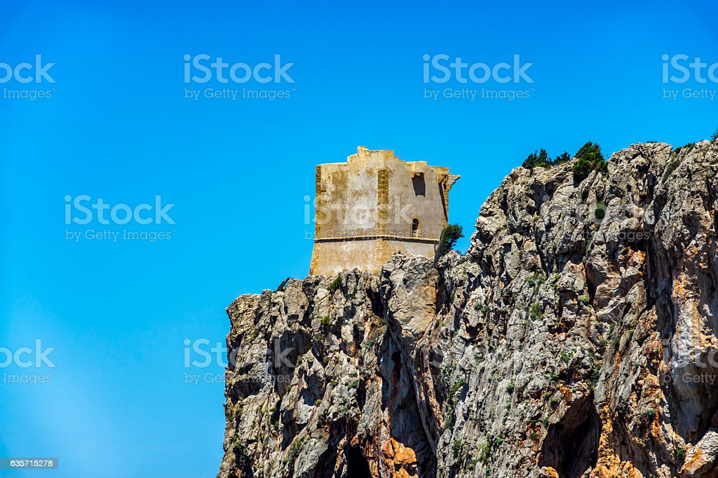 watch tower close to San vito lo Capo,  sicily royalty-free stock photo