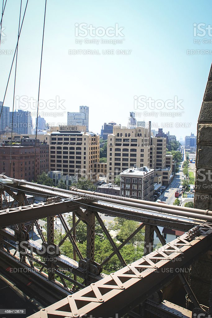 Watch Tower from the Brooklyn Bridge, New York royalty-free stock photo