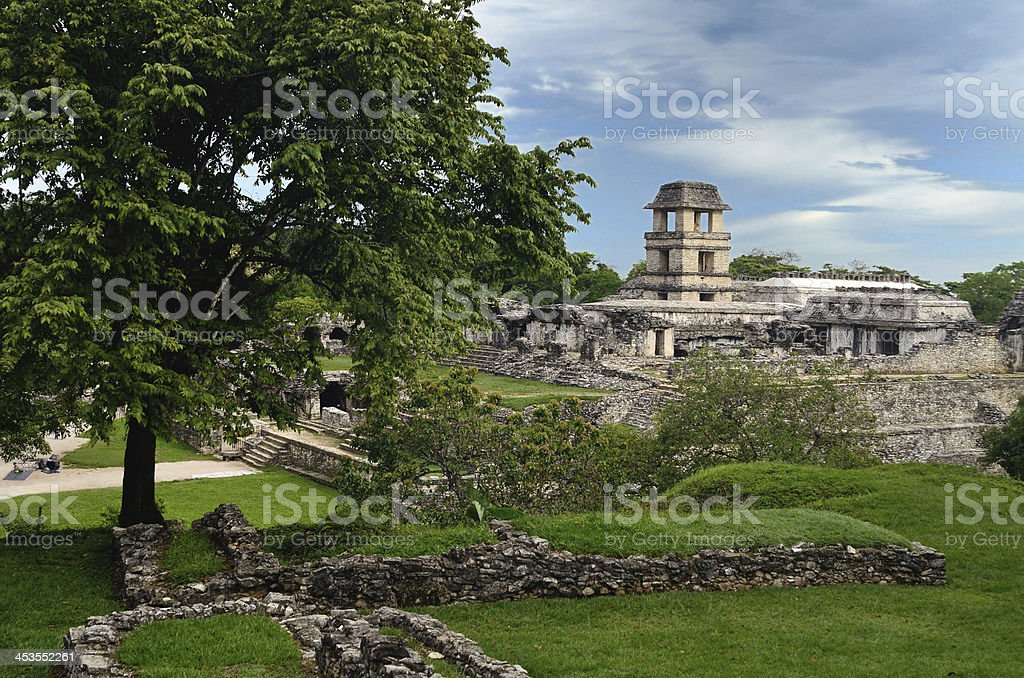 Watch tower in the ancient Mayan city of Palenque, Mexico royalty-free stock photo
