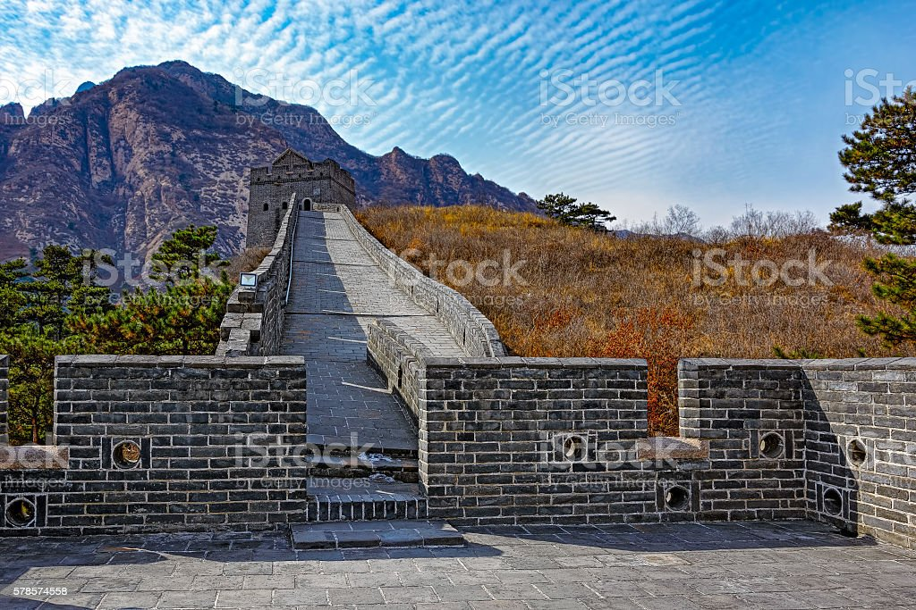 Watch tower on Great China wall stock photo