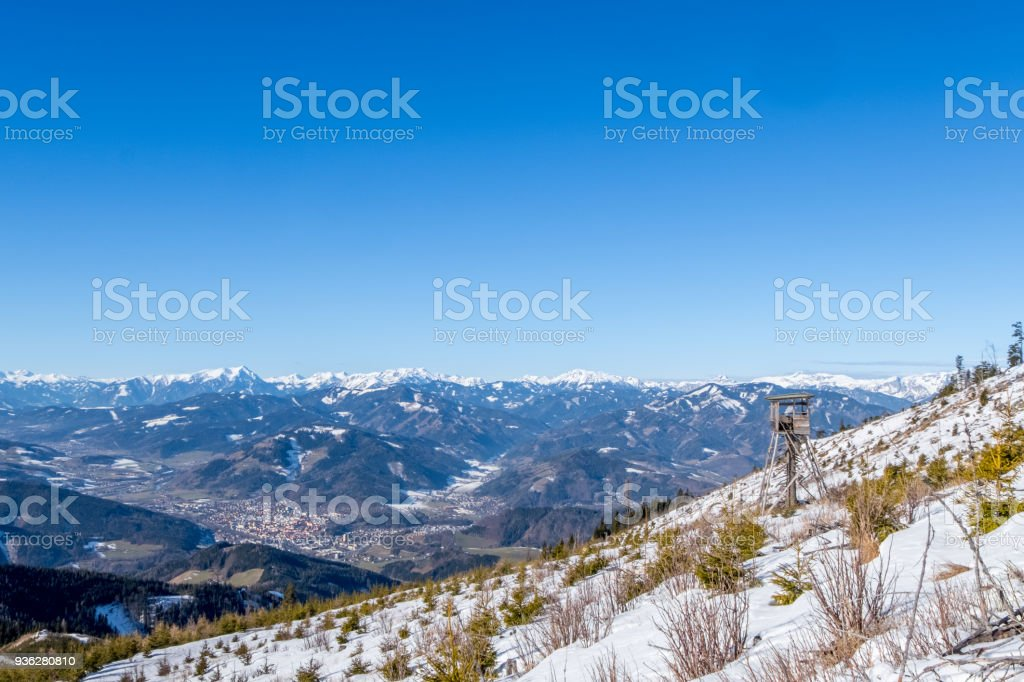 Watch tower view over town Bruck mountains Goesseck, Reichenstein, Hochturm stock photo