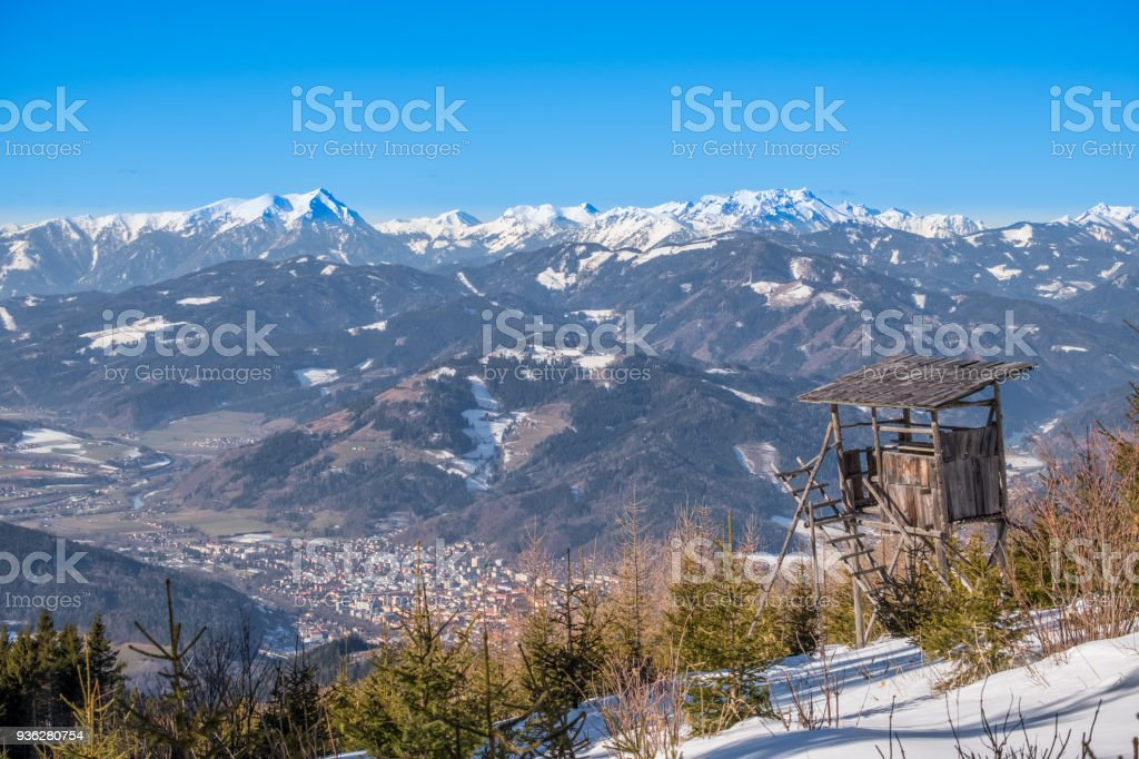 Watch tower view over town Bruck to mountains Goesseck, Reichenstein stock photo