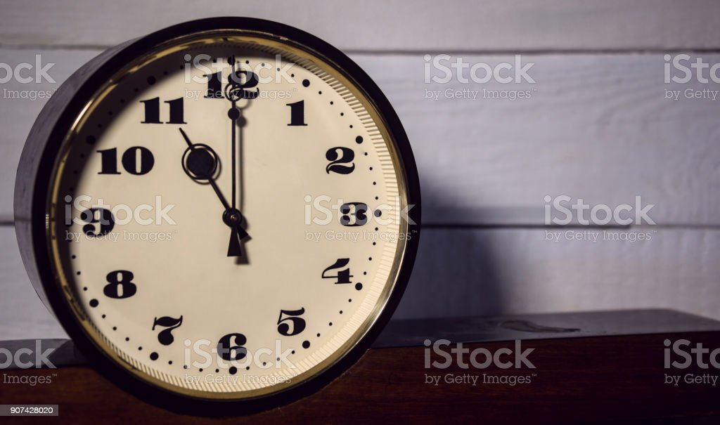 watch, vintage retro eleven o'clock in the morning and evening stock photo