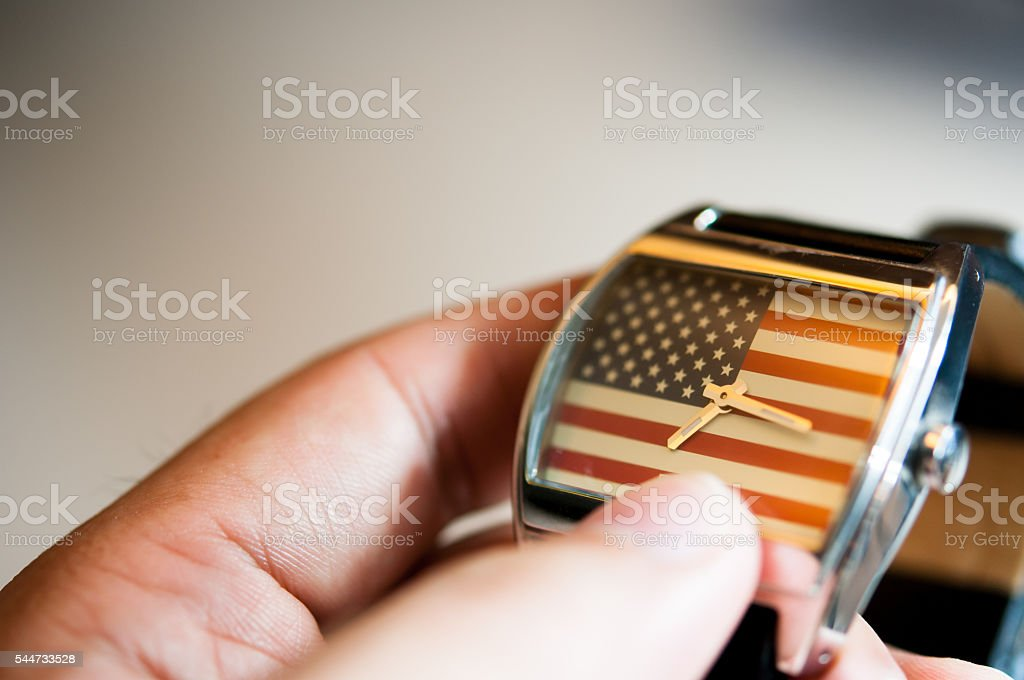 watch with American flag stock photo