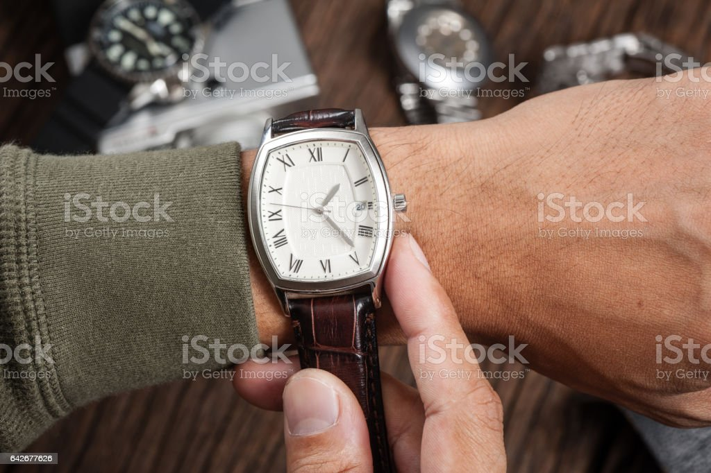 watch with leather strap stock photo