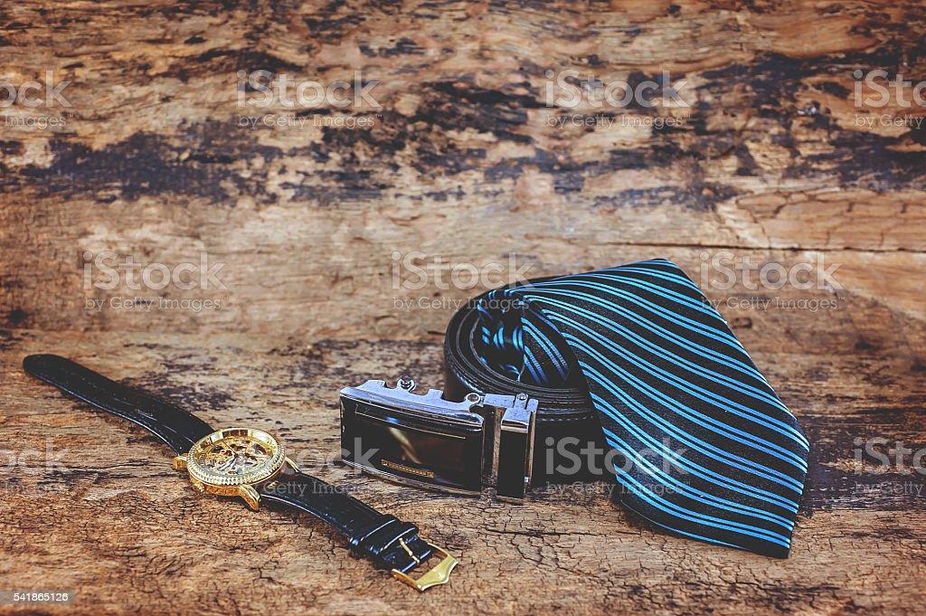 Watches, belts, ties for men. stock photo