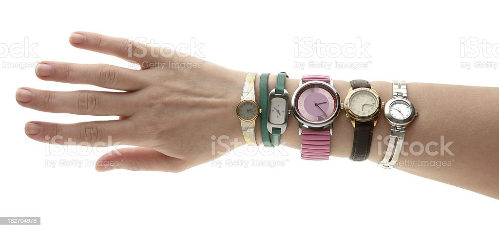 watches on hand stock photo