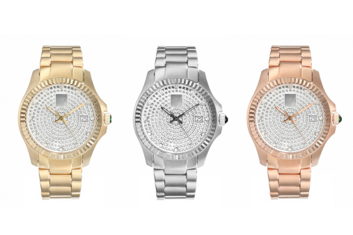 A generic gold, silver, and rose gold watch.
