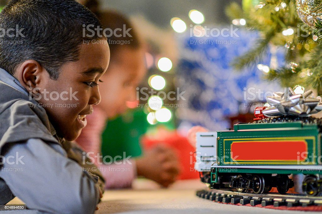 Watching a Christmas Train stock photo