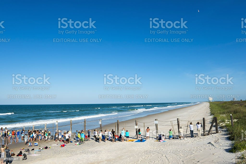 Watching a rocket launch at Cape Canaveral stock photo