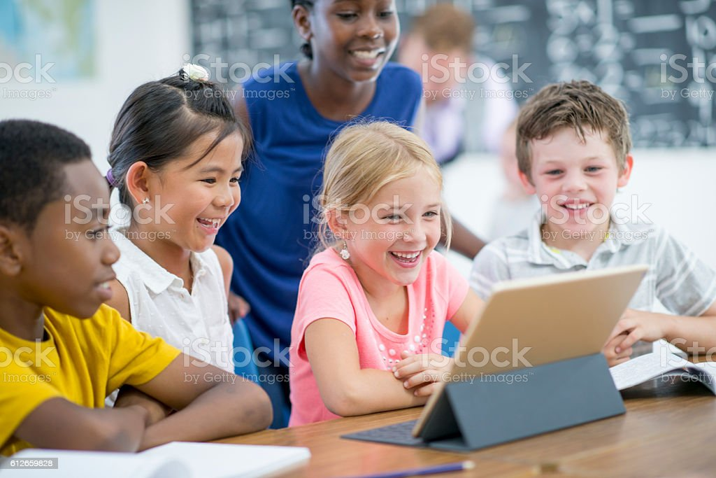 Watching a Video on a Digital Tablet stock photo