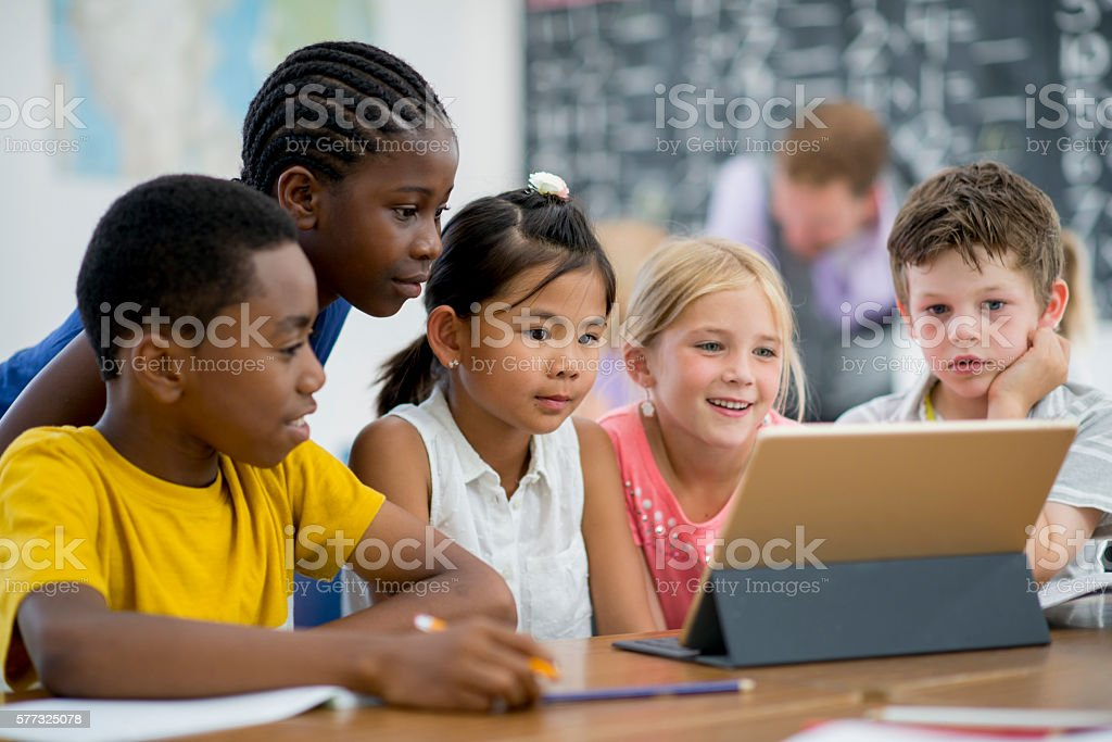 Watching an Educational Video on a Tablet stock photo