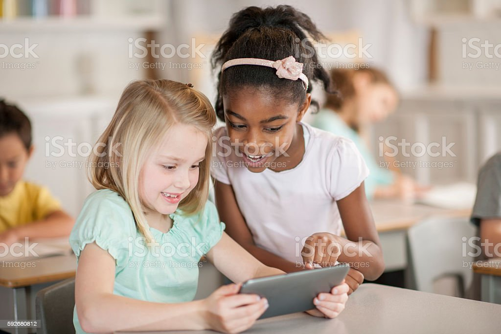 Watching an Educational Video stock photo