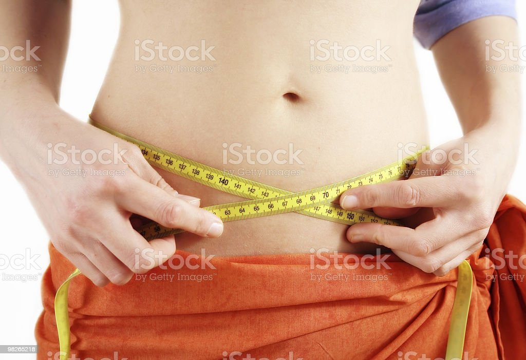 Watching belly girth royalty-free stock photo