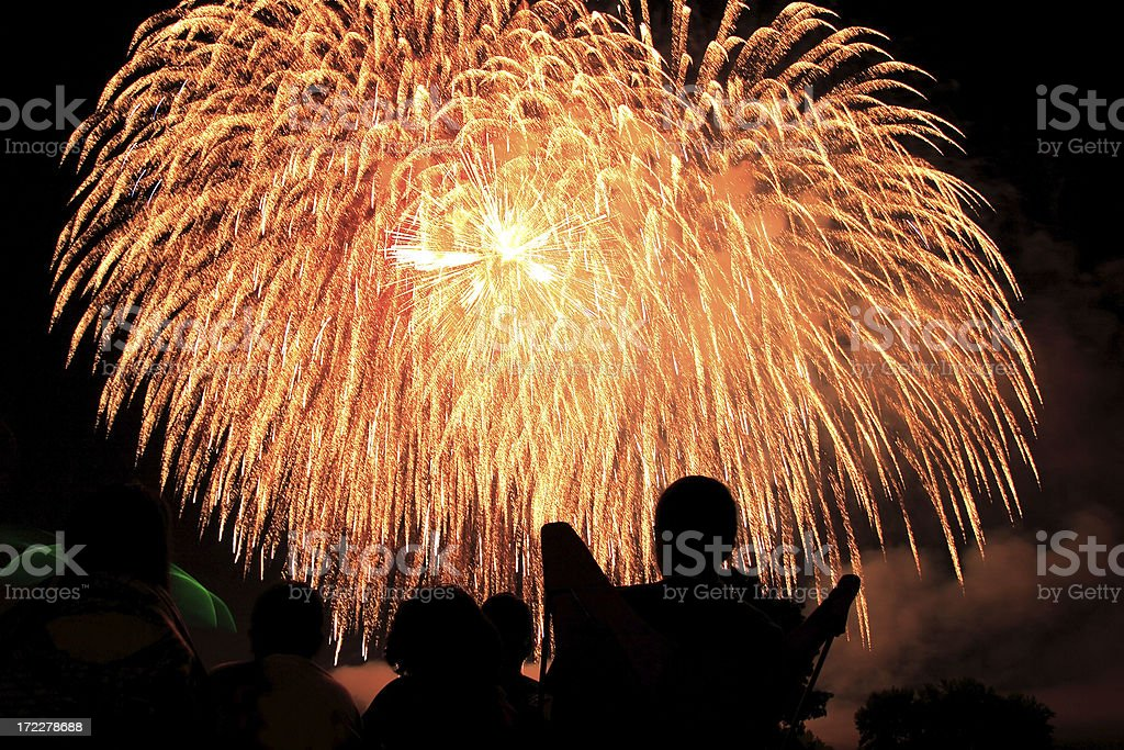 Watching Fireworks royalty-free stock photo