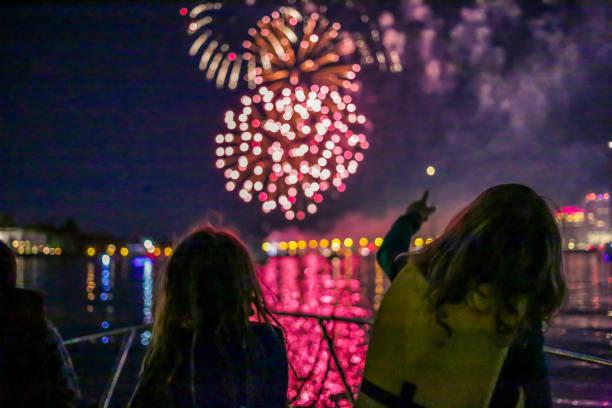 Watching Fireworks stock photo