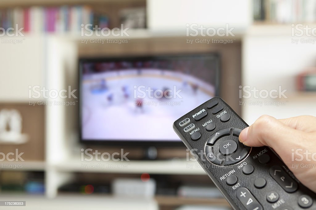 watching ice hockey stock photo