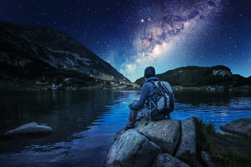 Watching majestic stars and milky way in the mountains at night