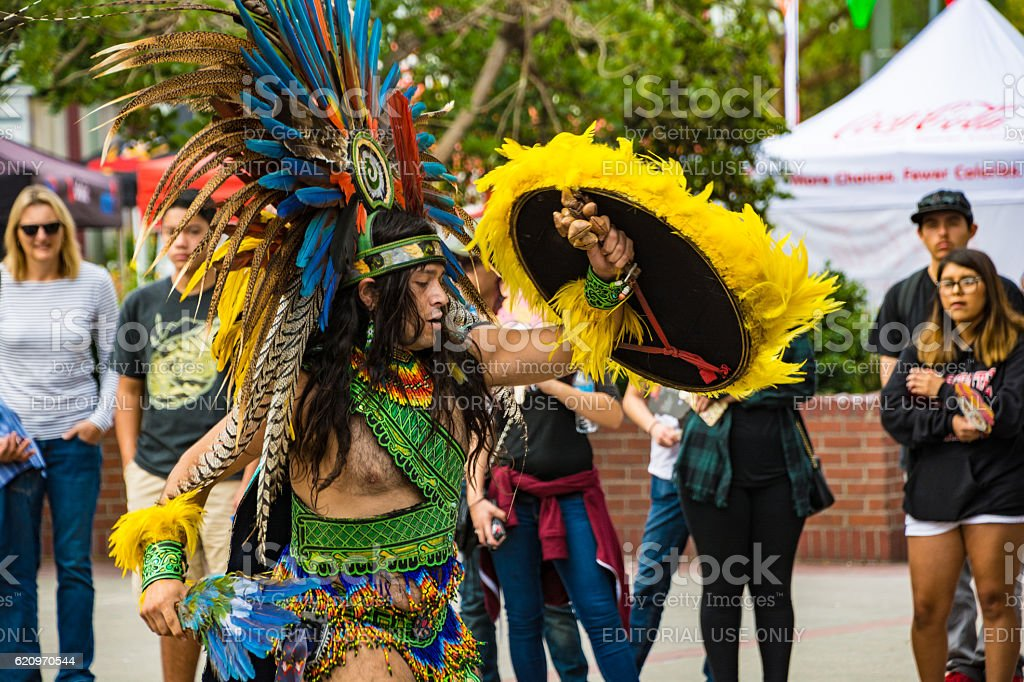 Watching Mexican Street Performer - El Pueblo Los Angeles stock photo