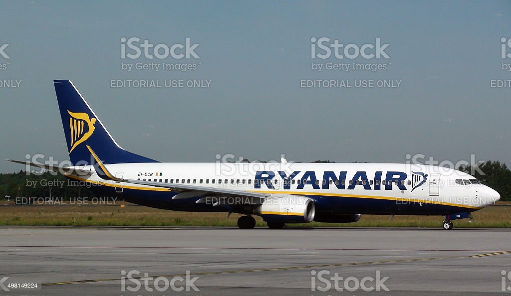 Watching Ryanair Passenger Airplane Taxiing To Depart From Eindhoven Airport stock photo