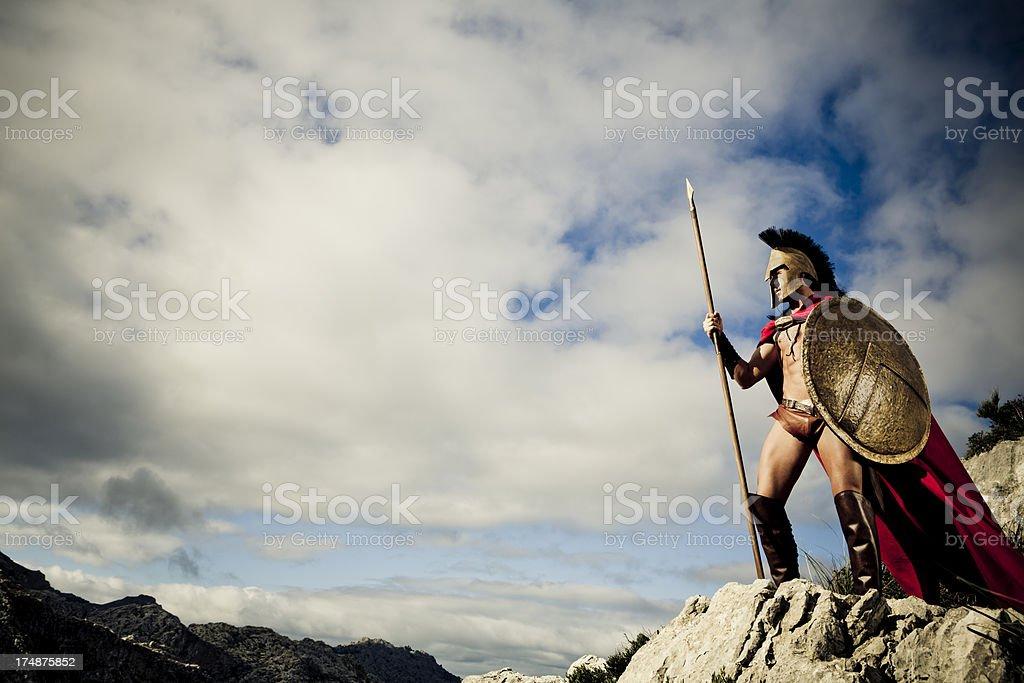watching Spartan warrior stock photo