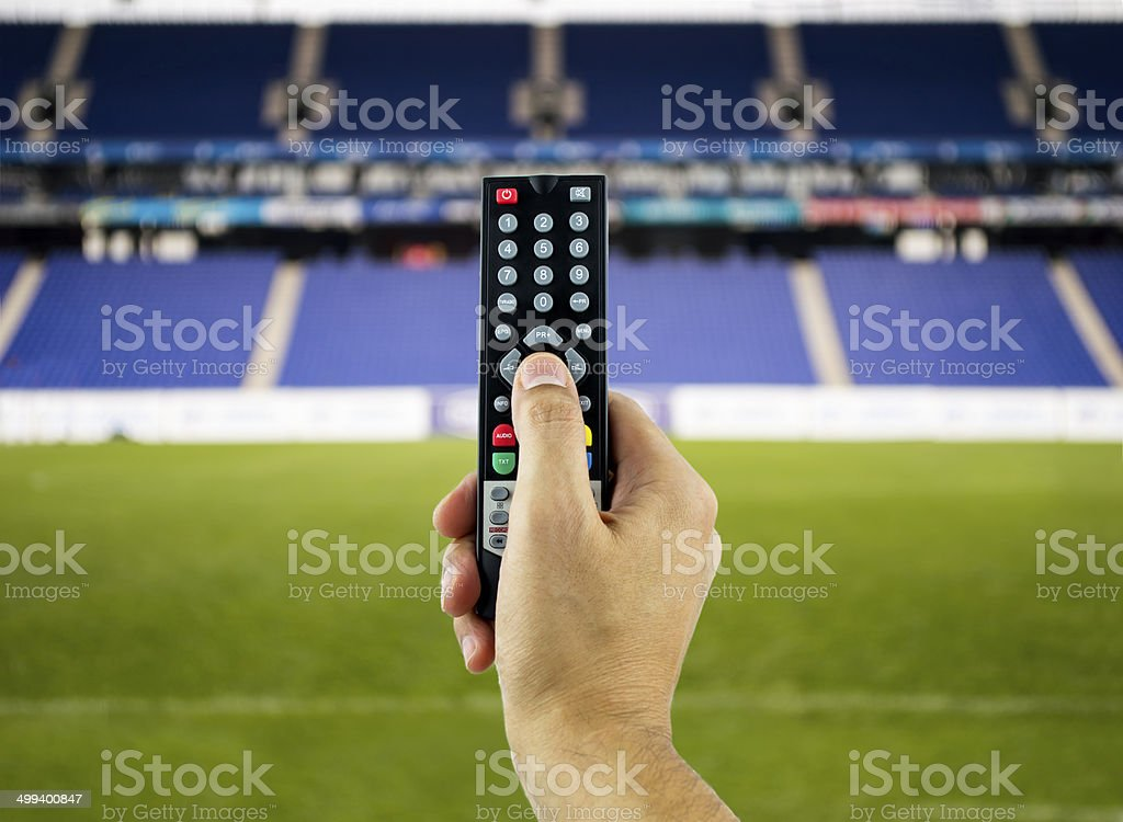 watching sports in 3D stock photo
