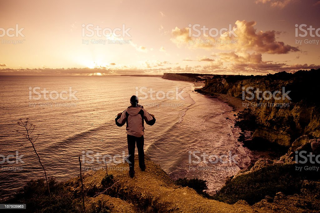 Watching sunset over the Atlantic Ocean royalty-free stock photo