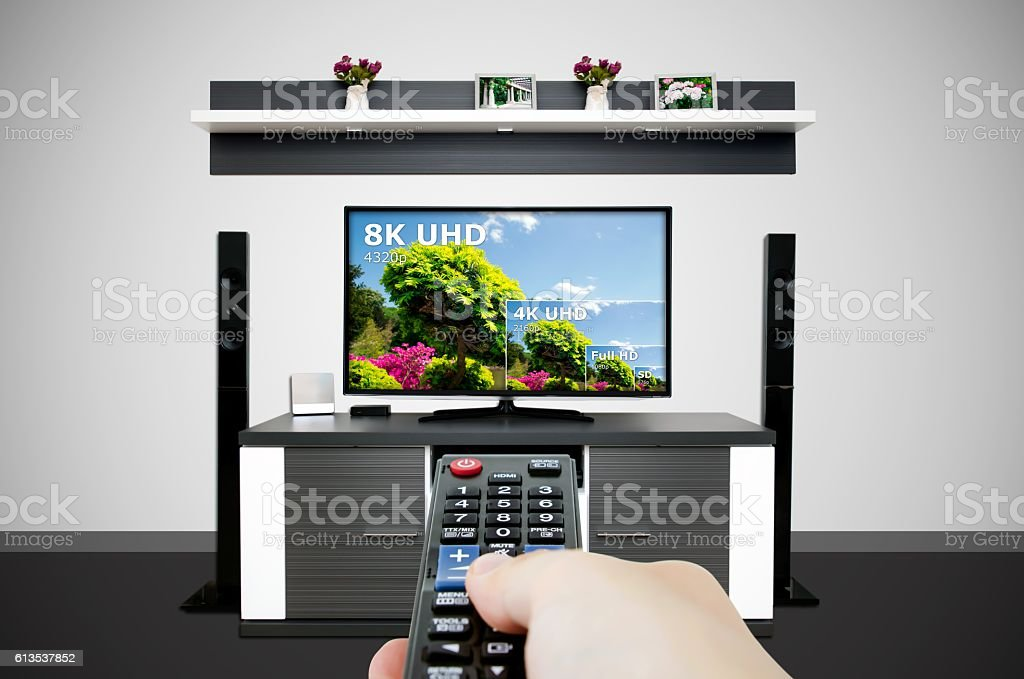 Watching television in modern TV room. Compare of television resolution royalty-free stock photo