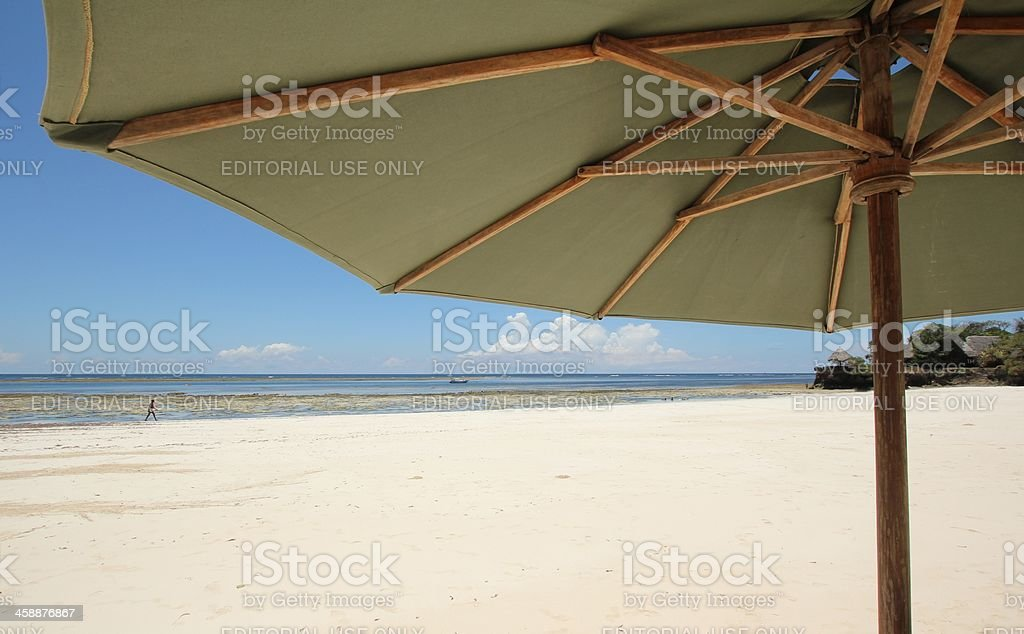 Watching the Beach under a green Parasol. royalty-free stock photo