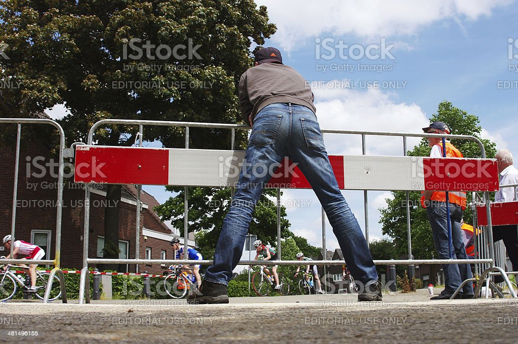 Watching the bicycling match royalty-free stock photo