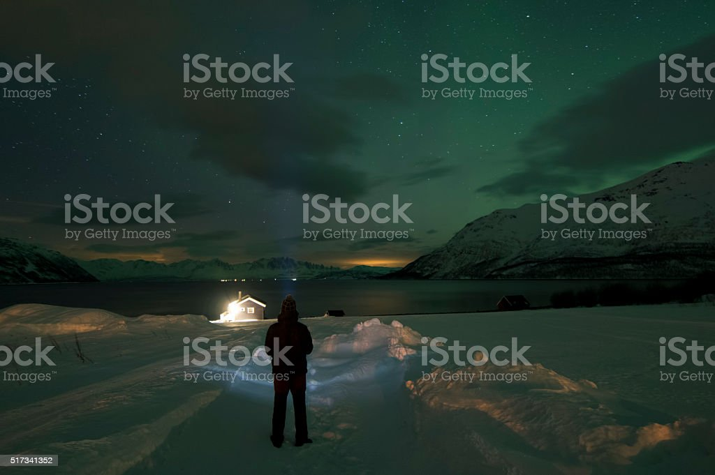 Watching the Dawn in Fjord stok fotoğrafı