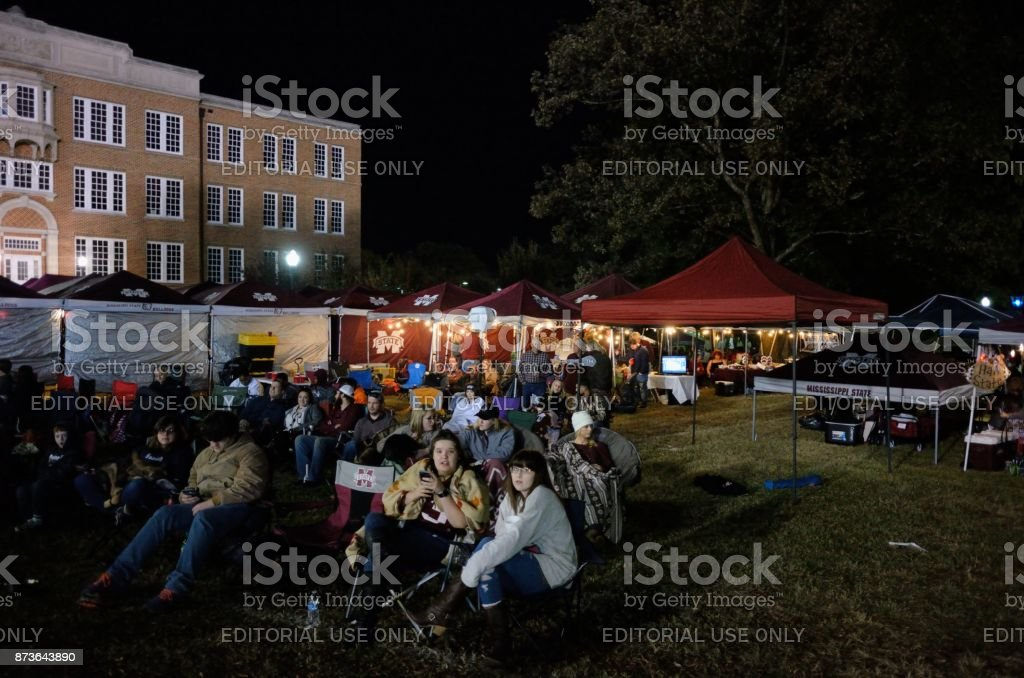 Watching the game from tailgating area stock photo