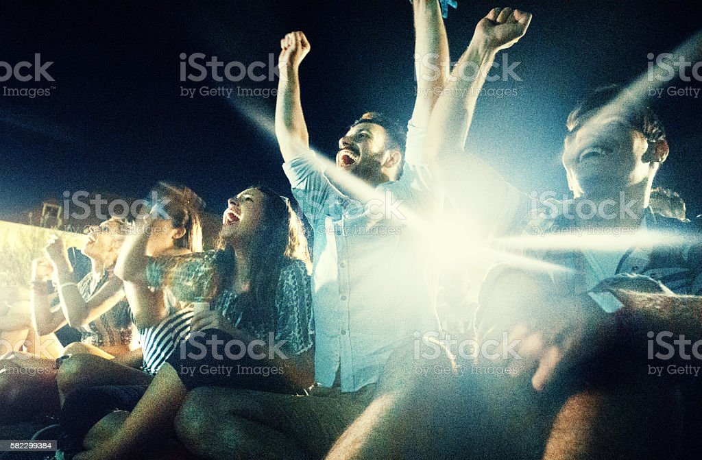 Watching the game. stock photo