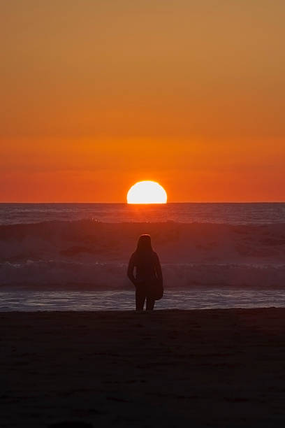 Watching the Sun Set stock photo