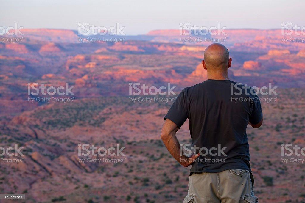 watching the sunset landscape stock photo