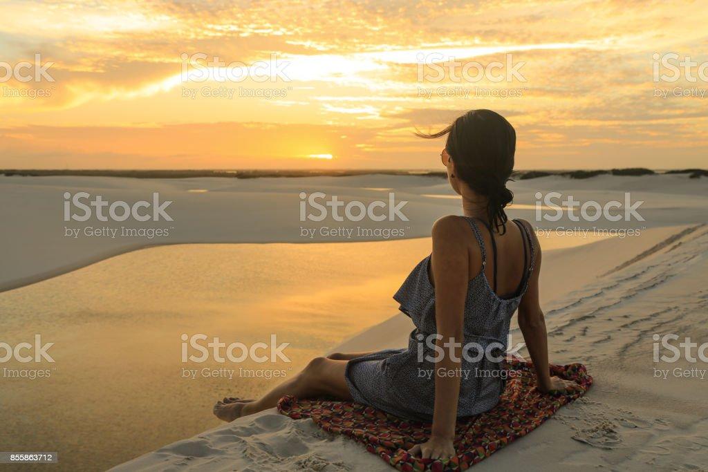 Watching the sunset. stock photo