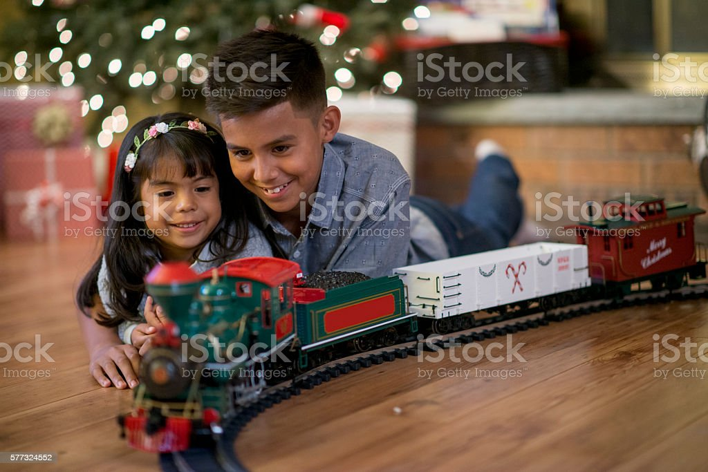Watching Their New Train stock photo