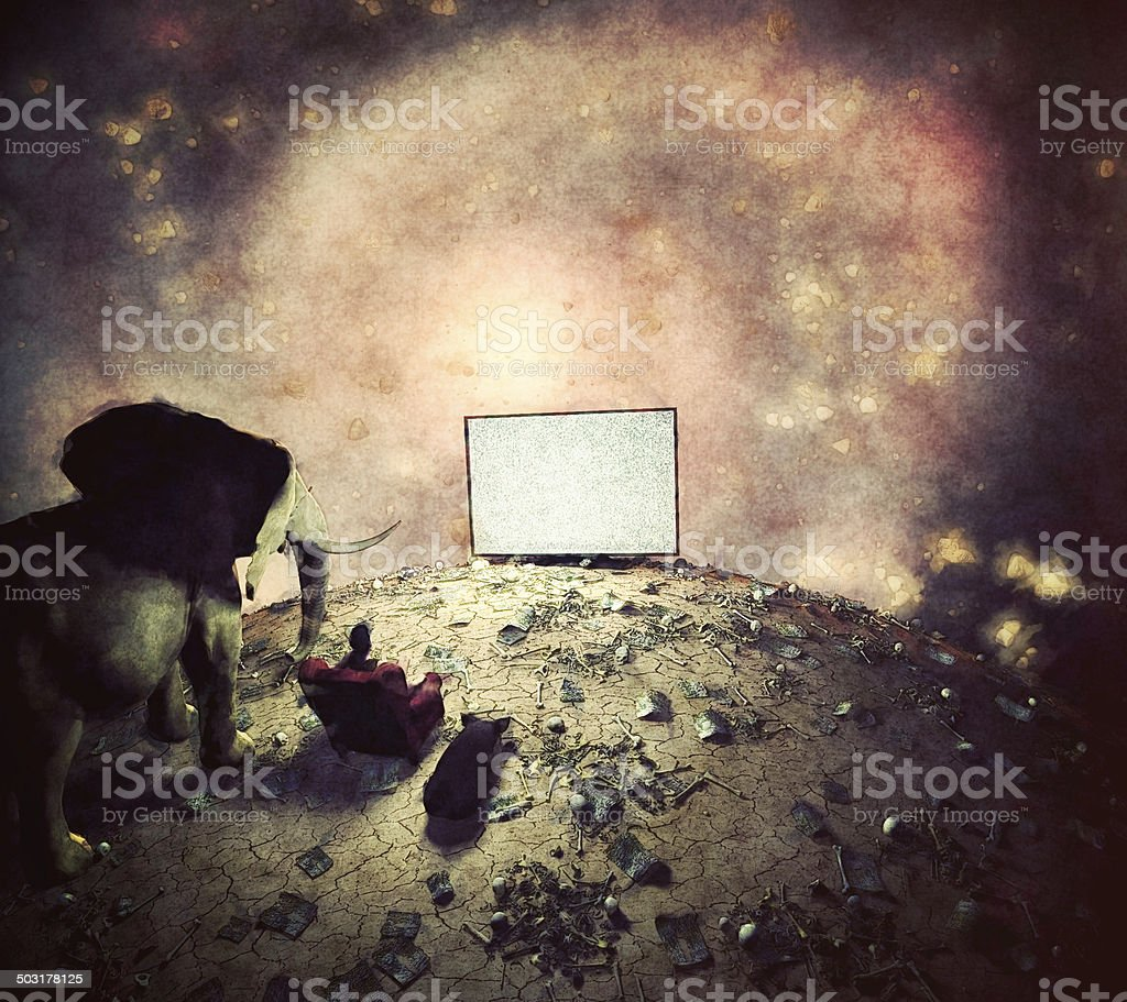 Watching TV at the end of everything royalty-free stock photo