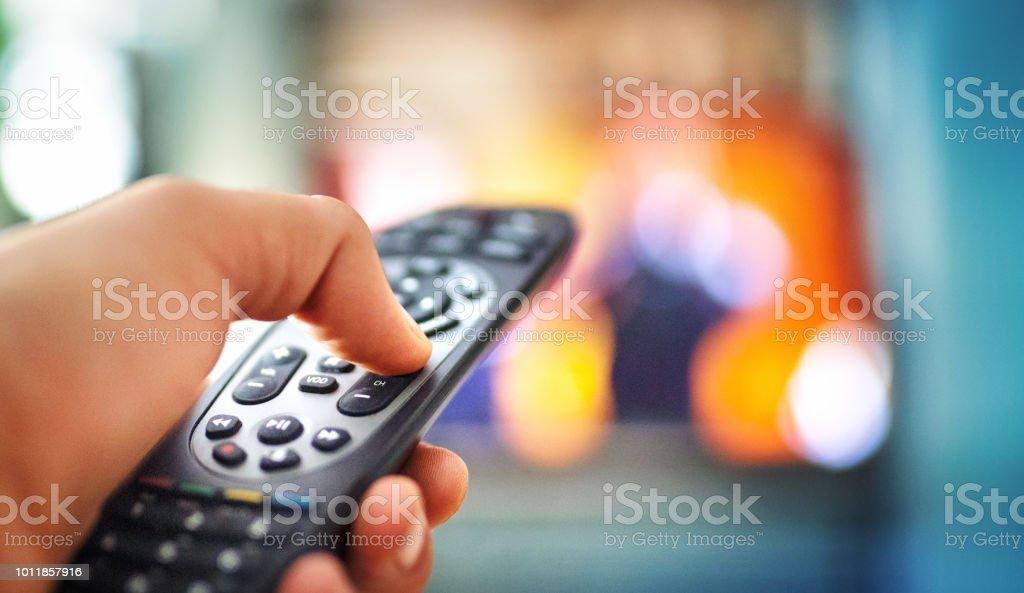 Watching tv POV stock photo